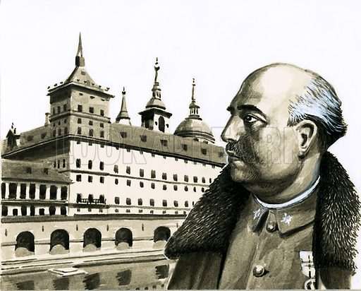 Paths to Power: Spain's Soldier Ruler. Portriat of General Franco; behind him is the Escurial Palace. Original artwork from Look and Learn no. 479 (20 March 1971).