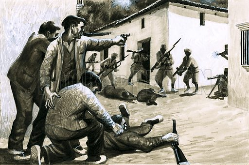 Paths to Power: Spain's Soldier Ruler. Soldiers of the Spanish Civil War. Original artwork from Look and Learn no. 479 (20 March 1971).