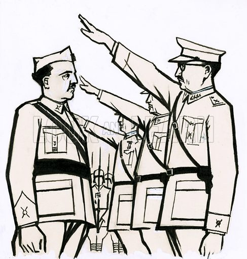 Paths to Power: Spain's Soldier Ruler. General Franco meets German officers but did not join the Axis powers during World War II. Original artwork from Look and Learn no. 479 (20 March 1971).