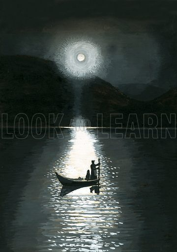 Ancient Peoples of the World: People of the Midnight Sun – Laplanders. The sun on a midsummer night in Lapland. Original artwork from Look and Learn no. 104 (11 January 1964).