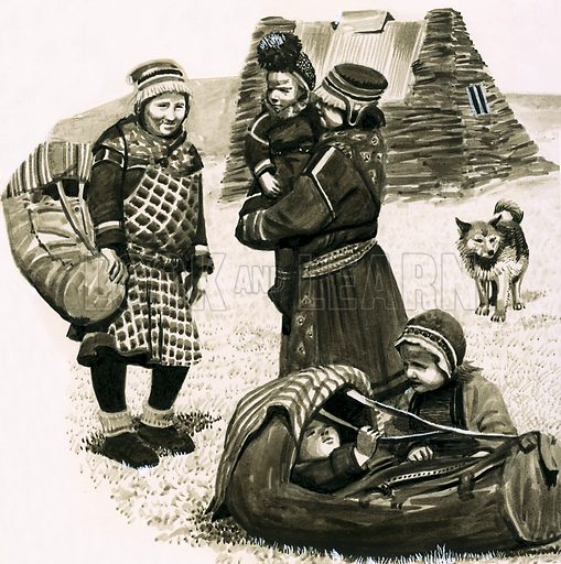Ancient Peoples of the World: People of the Midnight Sun -- Laplanders. Some Laplanders are permanently nomadic, living in tents or huts made of earth. Original artwork from Look and Learn no. 104 (11 January 1964).