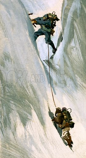How We Conquered Everest: At Last -- The Summit!. When a 40 foot rock step barred their way, Hillary jammed his body into a narrow crack and levered himself up backwards. Original artwork from Look and Learn no. 111 (29 February 1964).