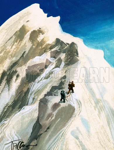 How We Conquered Everest: At Last – The Summit! Hillary and Tensing hack their way a step at a time along a ridge in order to reach the summit of Mount Everest. Original artwork from Look and Learn no. 111 (29 February 1964).