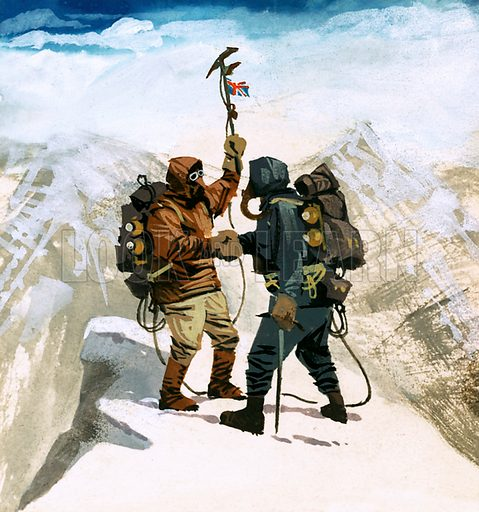 Edmund Hillary and Sherpa Tenzing Norgay reaching the summit of Mount Everest, 1953. Original artwork from Look and Learn no. 111 (29 February 1964).