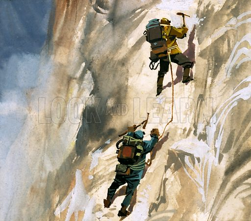 How We Conquered Everest: At Last -- The Summit!. Hillary and Tensing on the slopes of Mount Everest. Original artwork from Look and Learn no. 111 (29 February 1964).