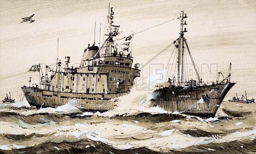 Factories in Search of Fish. A British frigate patrolling the North Sea, protecting the interests of British trawlers. Original artwork from Look and Learn no. 1047 (3 April 1982).
