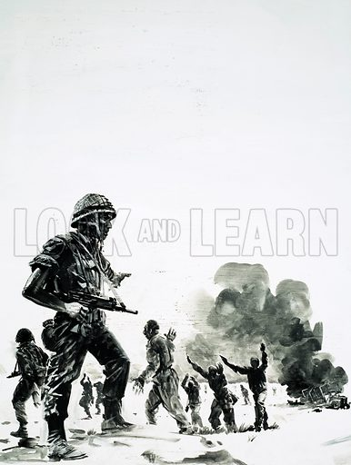 The Six-Day Conquest. The Six Days' War fought between Israel and the Arab states. Israeli forces on the move. Original artwork from Look and Learn no. 599 (7 July 1973).