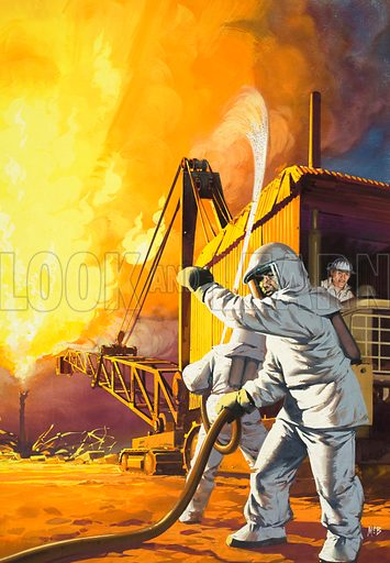 Fire! Fireman in safety suit fighting a fire at an oil field. Original artwork from Look and Learn Book 1982.