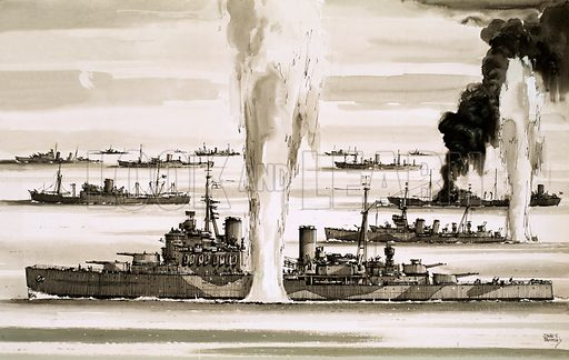 The Sinking of… The Ships That Died to Save Malta. The British Fleet sailing to Malta during the Second World War. Original artwork from Look and Learn no. 717 (11 October 1975).