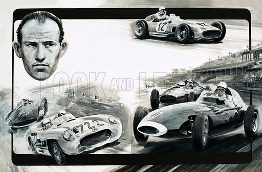 Tales of the Track: A Man with the Will to Win. Portrait of Stirling Moss, with various views of him racing. Original artwork from Look and Learn no. 564 (4 November 1972).