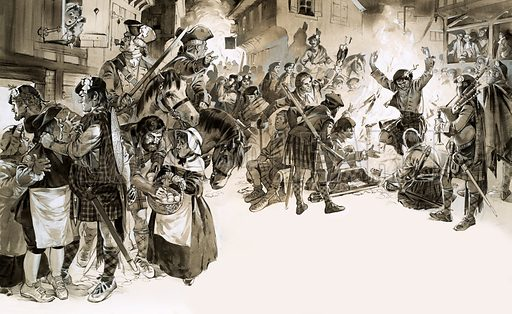 The Invaders: When the Clans Came South. Charles Edward Stuart the Young Pretender invades England in 1745. By Christmas, jubilant Highlanders were dancing in the streets of Derby. Original artwork from Look and Learn no. 516 (4 December 1971).