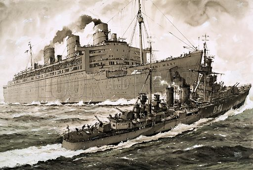 The Sinking of... The Ship That Died to Save a Queen. The Queen Mary strikes the Curacoa, the cruiser assigned to protect her from German U-Boats as she crossed the Atlantic in October 1942. Original artwork (dated 15 Nov).