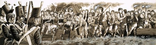 Unwillingly to School: Flogging and Fagging. In 1797, troops were called in the quell rioting schoolboys at Rugby. Original artwork from Look and Learn no. 463 (28 November 1970).
