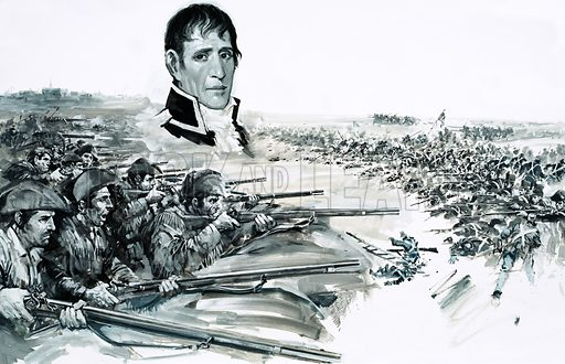 Day of Defeat: Redcoats versus Rebels. Portrait of General Andrew Jackson above image of the British defeat at New Orleans in 1815. Original artwork from Look and Learn no. 653 (20 July 1974).