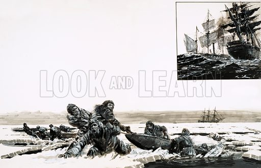 Journey Into Oblivion. Sir John Franklin's expedition set off in good spirits but the pitiless Arctic claimed them as another victim of the search for the North-West Passage; (inset) The whaling ship Enterprise was the last ship to meet up with Franklin's ship. Original artwork from Look and Learn no. 816 (3 September 1977).