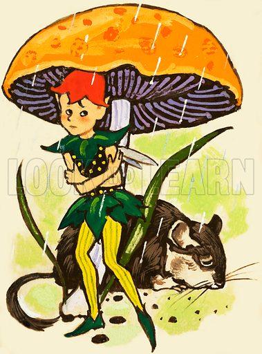 Pixie under a mushroom. Original artwork.