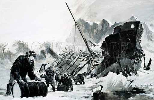 Unidentified ship wreck on an icy glacier. Original artwork.
