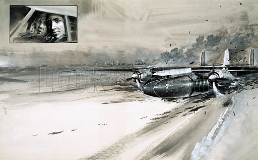 """""""We Won't Make It"""". The crash of a BEA Elizabethan at Munich Airport was an aviation disaster that killed devestated the Manchester United football team in February 1958. Original artwork from Look and Learn no. 493 (26 June 1971)."""
