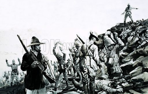 Day of Defeat: Hill of Slaughter. The Battle of Spion Kop during the Boer War, 1900. Original artwork from Look and Learn no. 648 (15 June 1974).