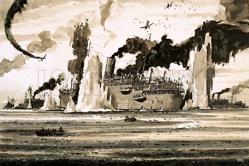The Sinking of… A Ship that Winston Churchill Could Not Forget. The sinking of the Lancastra off St Nazaire in June 1940. Original artwork from Look and Learn no. 716 (4 October 1975).