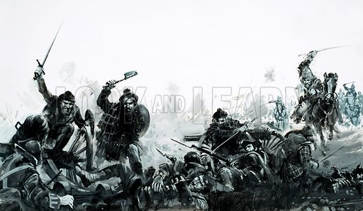 Defeat of the Scots at the Battle of Culloden, 1746, ending the Jacobite Rising of 1745. Original artwork from Look and Learn no. 645 (25 May 1974).