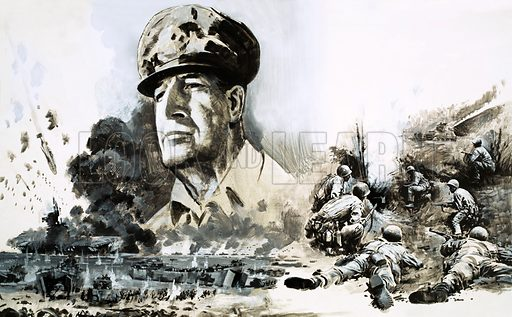 Warrior: The Proud General Who Became a Caesar. Douglas MacArthur with D-Day Landing scenes. MacArthur defeated the Japanese, then became the most powerful man in Japan. Original artwork from Look and Learn no. 517 (11 December 1971).