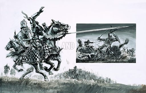 Day of Defeat: The Battle of the Spears. Sir Henry de Bohun, the English knight, tries to kill Robert the Bruce, but is himself killed, with (inset) scene from the Battle of Bannockburn. Original artwork from Look and Learn no. 650 (29 June 1974).