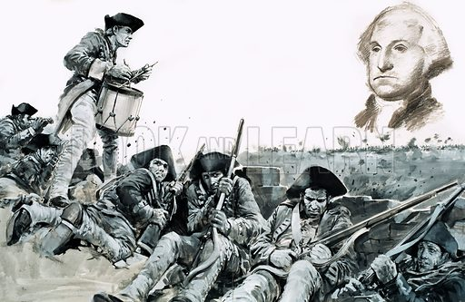 Day of Defeat: The World Turned Upside Down. A drummer beats a request for parley so that the British army can surrender at the Battle of Yorktown during the American War of Independence in 1781. Original artwork from Look and Learn no. 651 (6 July 1974). The inset illustration of George Washington was not used in the printed version.