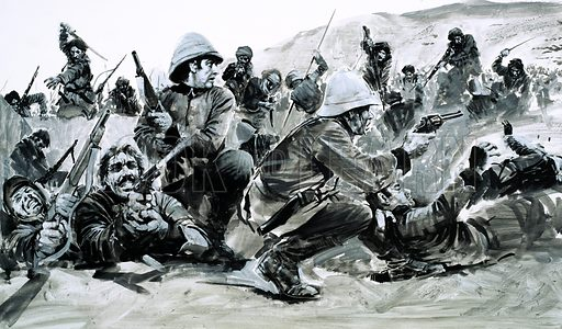 Day of Defeat: Death of a Regiment. The Afghans seized their chance to smash the British and for the valiant men of the 66th it spelt almost total disaster at the Battle of Maiwand in 1880. Original artwork from Look and Learn no. 654 (27 July 1974).