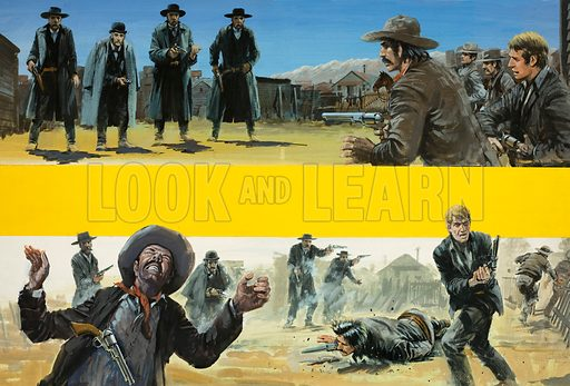 The Time and the Place: Showdown at Tombstone. The famous gunfight between Wyatt Earp, his brothers, Doc Holliday and the Billy Clanton and the McLaury brothers at the OK Corral. Original artwork from Look and Learn no. 700 (14 June 1975).