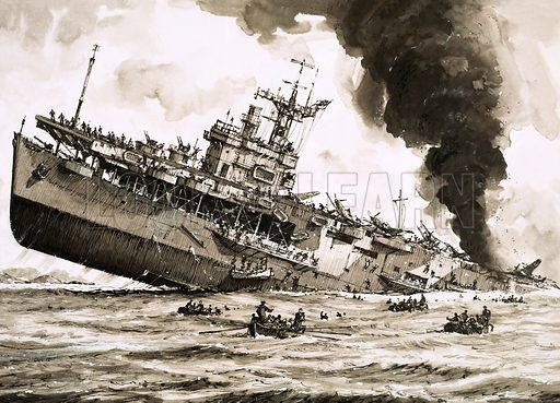 The Sinking of… HMS Dasher – The Ship That Shouldn't Have Been Sunk. A converted American vessel, the compliment of aircraft on the Dasher were being refuelled when an explosion (blamed on the ignition of petrol fumes from a leaky valve) holed the hull and she sank to the bottom of the Ardrossan. Original artwork from Look and Learn no. 715 (27 September 1975).