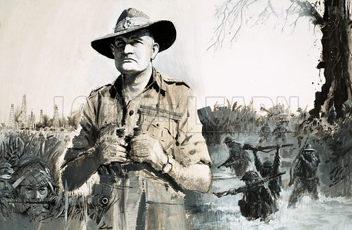 Warrior: Uncle Bill and His Forgotten Army. General Bill Slim led his 14th Army to victory over the seemingly invincible Japanese in the green Hell jungles of Burma. Original artwork from Look and Learn no. 511 (30 October 1971).