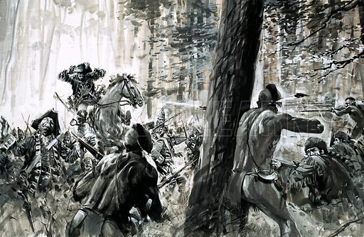 Day of Defeat: Army of the Doomed. An Indian war cry signalled the start of one of the worst disasters in the history of the british army when, in 1765, General Edward Braddock was ambushed by French soldiers and fierce Canadian Indians. Original artwork from Look and Learn no. 646 (1 June 1974).