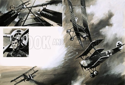 Men and Machines: Death Flight. Werner Voss had 49 kills to his name when he was shot down over France in September 1917. (Top left) The view of Voss as his twin Spandau machine guns attack a British aircraft; (centre left) Major James McCudden, VC the British ace whose team dispatched Voss; (main pic) the battle between British SE5s and Voss in his Fokker triplane. Original artwork from Look and Learn no. 692 (19 April 1975).