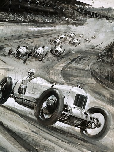 """An Engine Called """"Offy"""". The offenhauser was one of the most versatile and successful engines in the history of motor racing, responsible for winning -- amongst many others -- the 1925 Indianapolis 500 for driver Pedro Paulo in his 1 1/2 litre Miller car. Original artwork from Look and Learn no. 804 (11 June 1977)."""