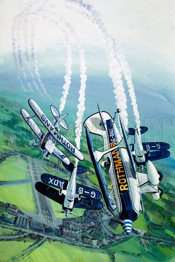 Mighty Midgets. The Rothmans Aerobatics Team flying in their Stampe SV4B biplanes. Original artwork from Look and Learn no. 791 (12 March 1977).