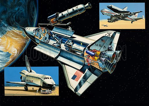 The Space Shuttle. Original artwork for World of Knowledge annual 1983.