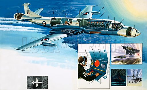 Inside Story: The Flying Sentinel. Cutaway drawing of the Nimrod Mark III with inset image of control panel, fighters taking off, a battleship and a fighter being guided to a refuelling plane. Original artwork from Look and Learn no. 901 (28 April 1979).