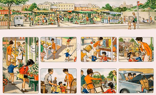 Out and About With Mummy. Going to the market. Comic strip from Teddy Bear (14 June 1969).