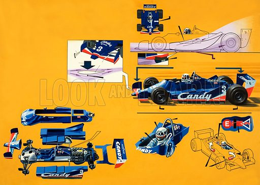 Formula 1 car, backed by Candy. Original artwork for World of Knowledge issue no 12.