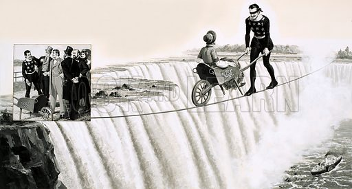picture, Blondin, Niagara Falls, tightrope
