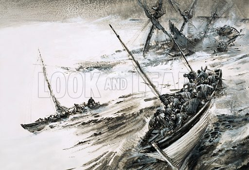 Unidentified shipwreck with lifeboats escaping into stormy seas. Original artwork.