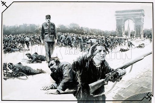 The Day That… They Liberated Paris. Charles de Gaulle takes his Victory Walk down the Champs Elysses during the liberation of Paris. Original artwork from Look and Learn no. 574 (13 January 1973).
