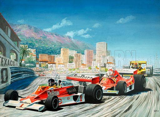 Formula One racing cars of James Hunt (McLaren-Ford) and Niki Lauda (Ferrari) at the Monaco Grand Prix, 1977. Original artwork from Look and Learn Book 1980.