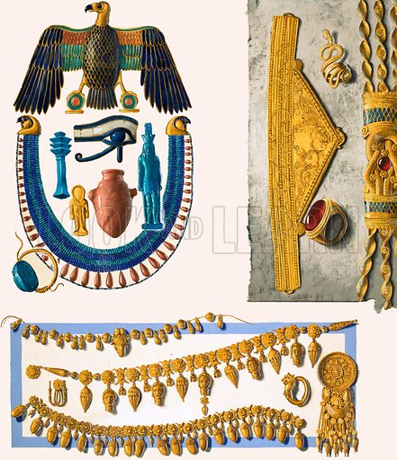Assorted unidentified Egyptian jewelry.