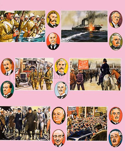 From Then Till Now: Britain's Prime Ministers. Portraits of (left to right, top to bottom): the Boer War, Arthur Balfour, Henry Campbell-Bannerman, a British ship being struck by a torpedo, Henry Asquith, David Lloyd George, Andrew Bonar Law, Stanley Baldwin, troops during the First World War, James Ramsay Macdonald, Neville Chamberlain, marchers during the depression, Winston Churchill, Clement Attlee, election day scene, Anthony Eden and Harold Macmillan. Original artwork from Look and Learn no. 91 (12 October 1963).