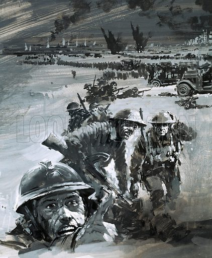 Dunkirk war scene. Original artwork for World of Knowledge annual 1982.