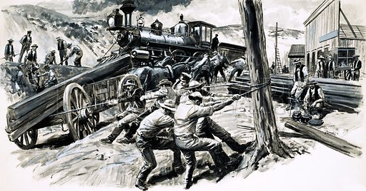 True Tales of the American West: The Railroad that was Eaten! A railway driven through Washington state ran into problems during the winter of 1873/74 when hungry wolves ate the rawhide bindings that secured the tracks. Original artwork from Look and Learn no. 484 (24 April 1971).