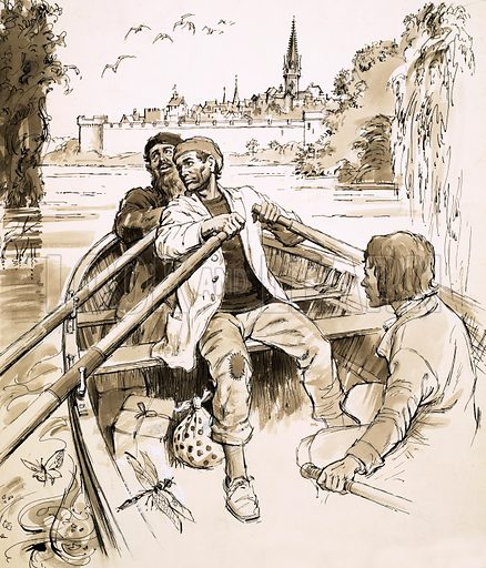 The Red Bonnet, illustration from serial story by Henry Garnett. Pierre steered the boat into a wide stretch of the river. A town can be glimpsed behind them. Original artwork from Look and Learn no. 207 (1 January 1966).