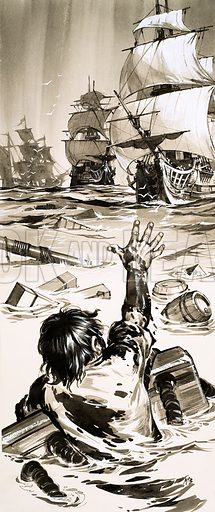 Shipwreck! The Foundering of the Royal George. A young sailor named Ingram was one of the few survivors of the sinking of the Royal George, the pride of the British Fleet, in 1782. Original artwork from Look and Learn no. 465 (12 December 1970).